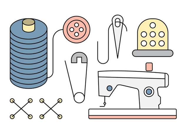 Linear Sewing Icons and Tools - Free vector #429687