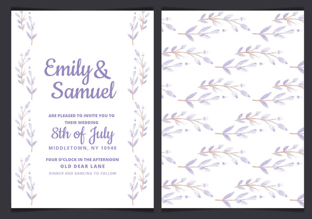 Vector Wedding Invitation with Watercolor Branches - vector gratuit #429917