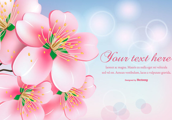 Beautiful Peach Blossom Flowers Illustration - vector gratuit #429977