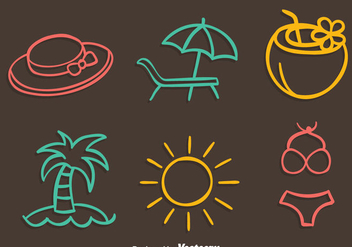 Beach Element Colored Line Vector - vector gratuit #429987