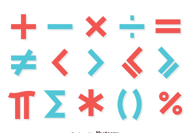 Red And Blue Math Symbol Vector - vector gratuit #430007