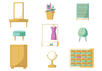 Minimalist Dressing Room Vector Pack - Free vector #430277
