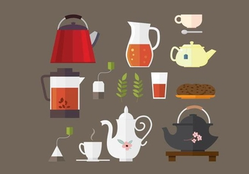 Tea and Teapot Element Vectors - бесплатный vector #430317
