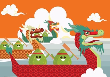 Dragon Boat Racing Vector - бесплатный vector #430327
