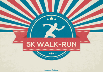 Retro 5K Walk Illustration - Free vector #430407