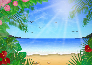 Floral Scene Of Playa - vector gratuit #430497