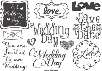 Cute Wedding Lettering and Doodles - Free vector #430617