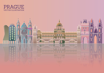 Prague Skyline with Color Buildings Blue Sky and Reflections - Free vector #430667