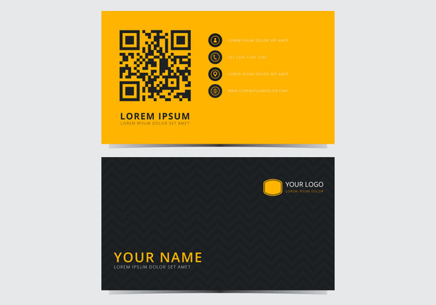 Yellow Stylish Business Card Template - vector #430707 gratis