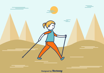 Cartoon Nordic Walking Vector - Kostenloses vector #430767