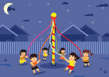 Colorful Maypole European Folk Festival Illustration Vector - Free vector #430877
