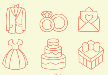 Sketch Wedding Element Vectors - Free vector #430927