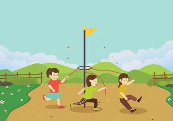 Children Running Around A Maypole Vector - Free vector #430957