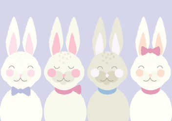 Cute Vector Illustration of Easter Bunnies - Free vector #431047