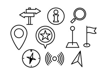 Free Map Pointer Linear Icon Vector - vector gratuit #431087