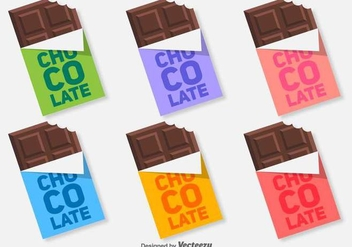 Colorful Flat Chocolate Bar Vector Icons - Free vector #431167