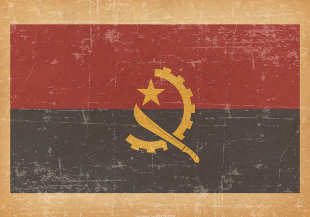 Flag of Angola on Grunge Background - Free vector #431227