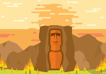 Easter Island Statue Lanscape Flat Illustration Vector - Free vector #431247