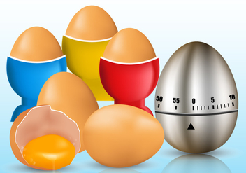 Egg Timer and Cracked Egg Vectors - vector gratuit #431317