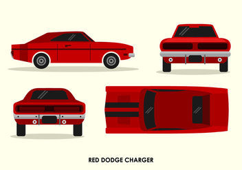 Vintage Red Dodge Charger Front Back Top Side View Vector Illustration - Free vector #431537