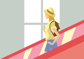 Traveler Girl With Hat in The Escalator - vector gratuit #431547
