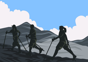 One Team Of Nordic Walking - vector gratuit #431557