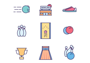 Bowling Icons on White Background - vector #431587 gratis