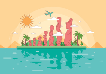 Easter Island Landscape Vector - Free vector #431617