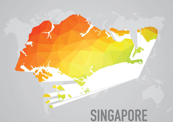 Polygonal Singapore Maps Background Vector - Free vector #431837