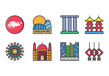 Singapore Icon Vector Set - Free vector #431857