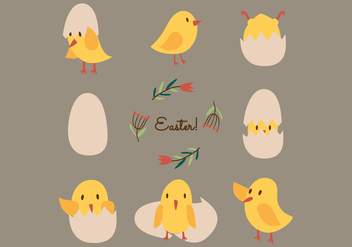 Cute Vector Easter Chicks - vector gratuit #431867