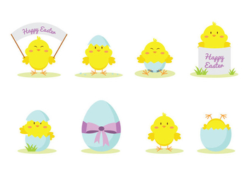 Cute Easter Chick Vector - vector gratuit #431877