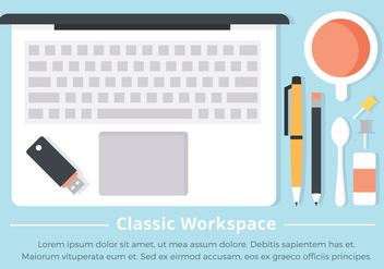 Free Flat Workspace Vector Background - Free vector #431927