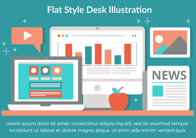 Free Vector Flat Design Desktop Elements - vector gratuit #432007