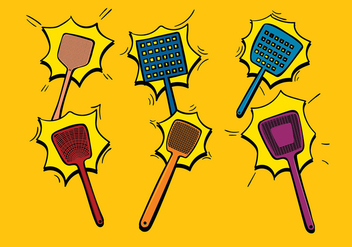 Fly Swatter Cartoon Free Vector - vector gratuit #432017