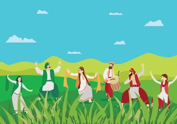 Free Man And Women Doing Bhangra Dance On Green Landscape Illustration - Free vector #432037