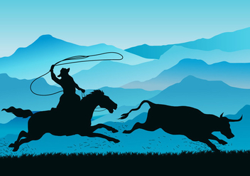 Gaucho Pursuing Wild Cow Vector - Free vector #432107