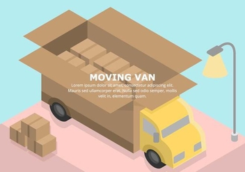 Pastel Moving Van Illustration - бесплатный vector #432127