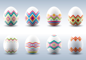 Traditional Patterned Easter Eggs Vectors - Free vector #432177