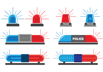Police Lights Vector Icons Set - бесплатный vector #432207
