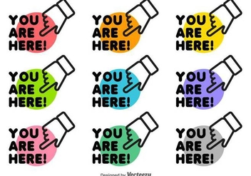 You Are Here Icon Set Vector - vector gratuit #432247