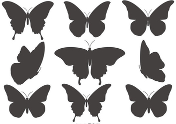 Butterfly Silhouette Shapes Collection - Free vector #432327