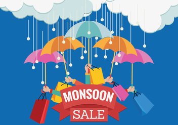 Vector Sale Banner for Monsoon Season with Hands and Umbrella - бесплатный vector #432347