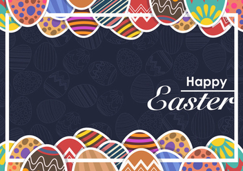 Moody Decorative Easter Eggs Vector Background - бесплатный vector #432427