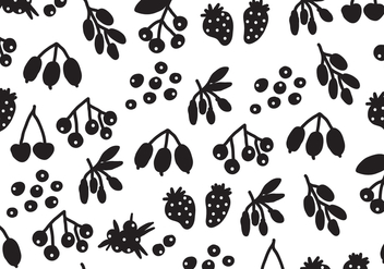 Silhouette Black Berries Vector Pattern - Free vector #432447