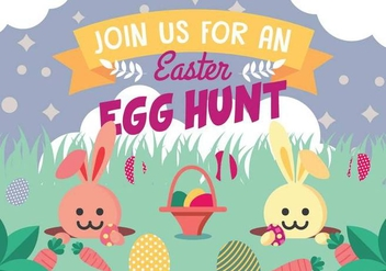 Bunny Hunting Easter Eggs - Free vector #432457
