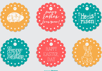 Cute Round Easter Gift Tags - vector gratuit #432477