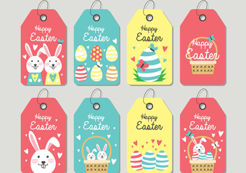 Cute Easter Tag - vector #432497 gratis