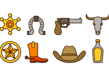 Set Of Cowboy or Gaucho Icons - Free vector #432507