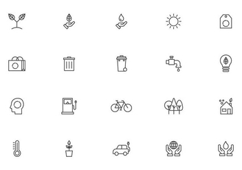 Linear Earth Day Icon Vectors - Free vector #432537